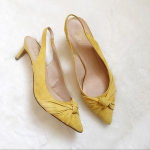 Franco Sarto Dayanara Yellow Suede Kitten Heels